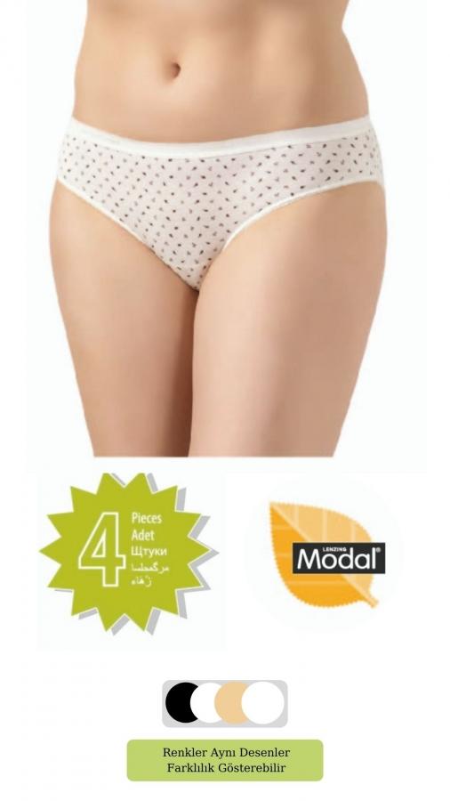 2809-YH Kadın Elegant Modal Baskılı Bikini 4'Lü Paket