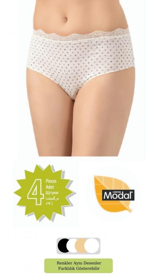 2812-YH Kadın Elegant Modal Baskılı Dantelli Bato 4'Lü Paket
