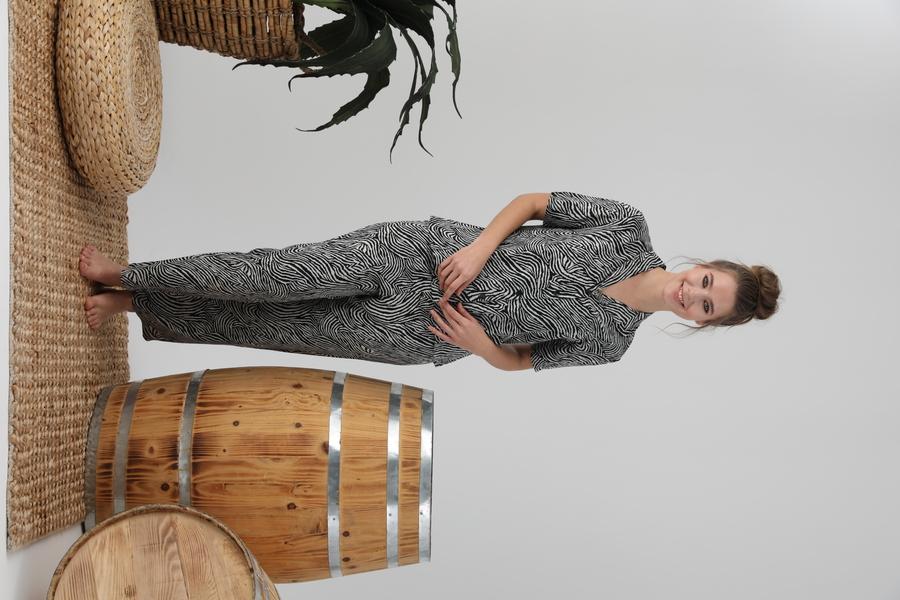 840-023 DS-06 Bayan Önü Düğmeli Yarımkol Pijama
