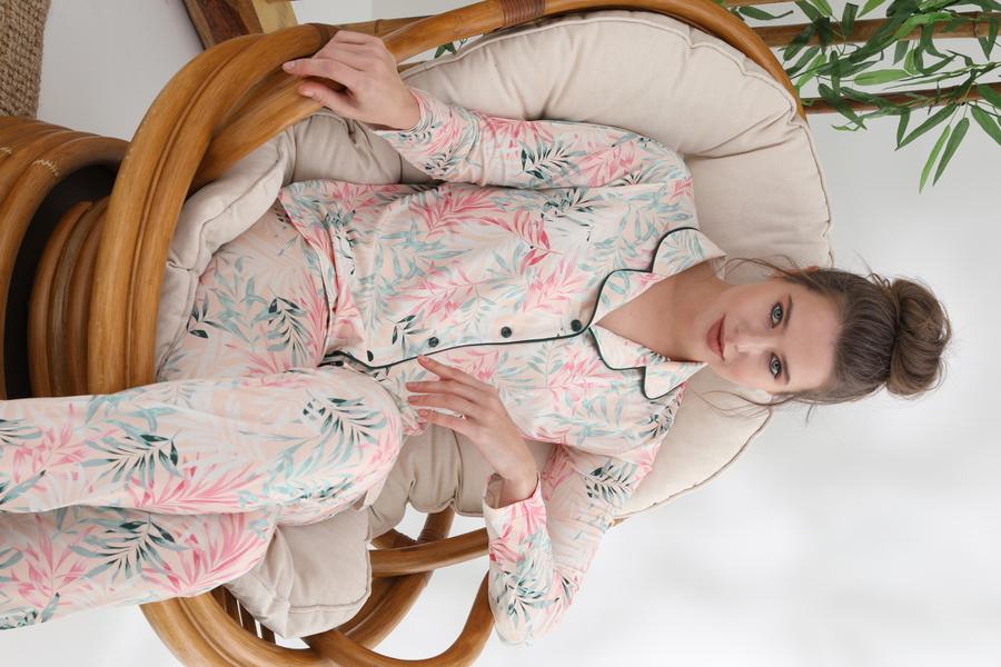 840-029 DS-02 Bayan Önü Düğmeli Uzun Kol pijama