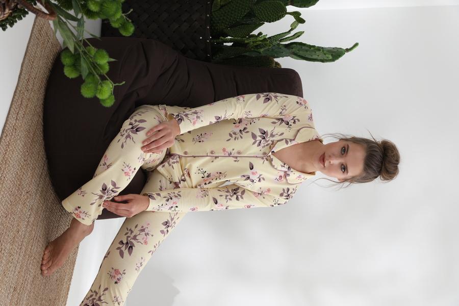 840-029 DS-03 Bayan Önü Düğmeli Uzun Kol pijama