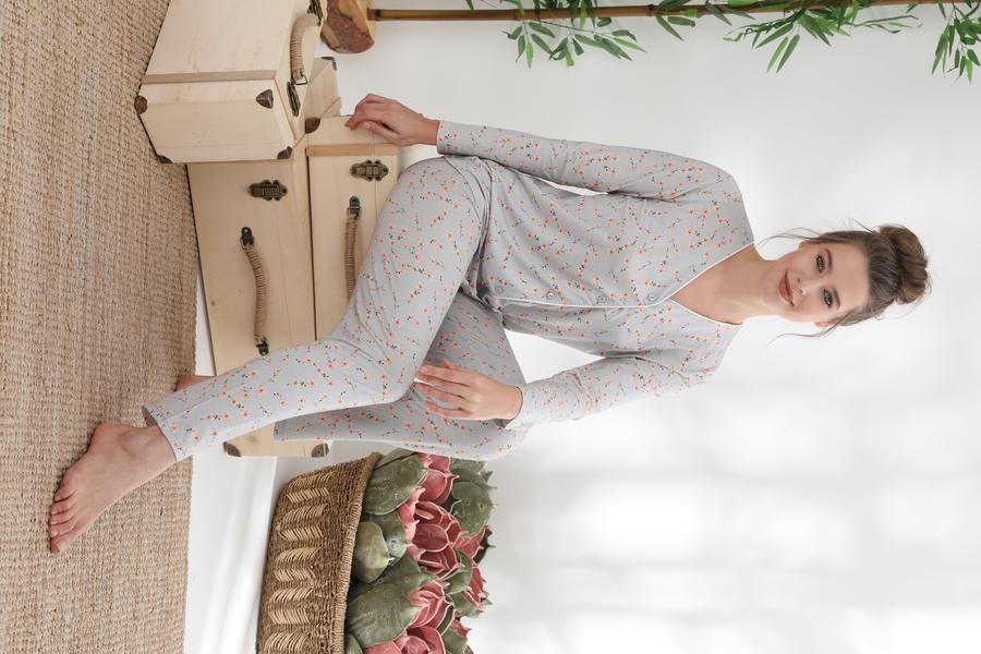 840-044 DS-04 Bayan Önü Düğmeli Uzun Kol pijama