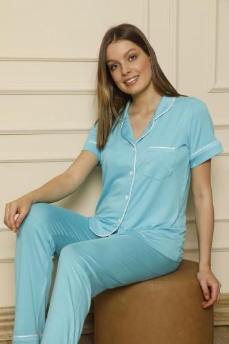840-056 Kadın Kısa Kol Renkli Viskon Pijama Takımı - Thumbnail
