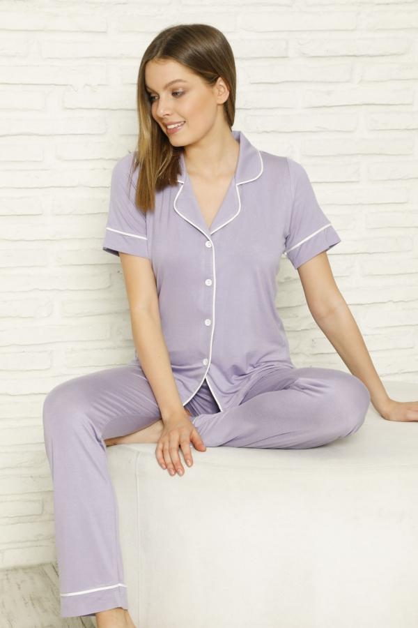 840-056 Kadın Kısa Kol Renkli Viskon Pijama Takımı