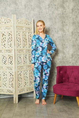 840-172 Mavi Güllü İnterlok Önden Düğmeli Pijama Takımı - Thumbnail