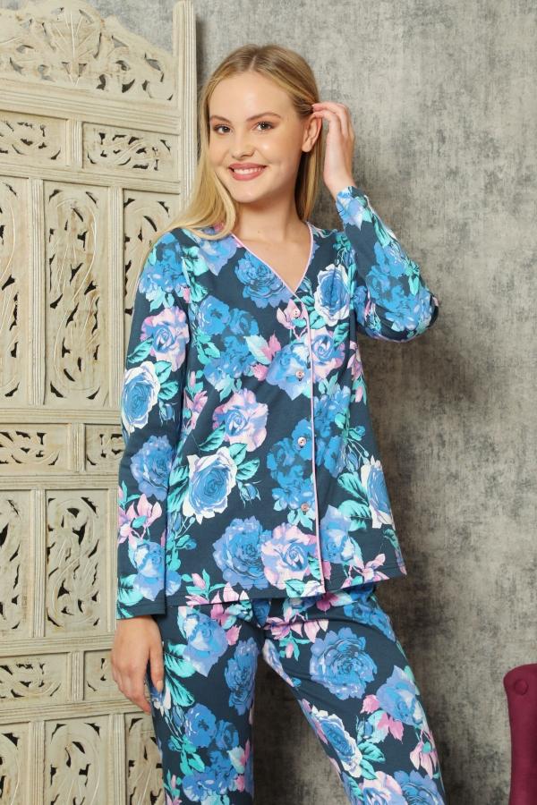 840-172 Mavi Güllü İnterlok Önden Düğmeli Pijama Takımı