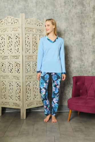 840-174 Mavi Güllü V Yaka Pijama Takımı - Thumbnail