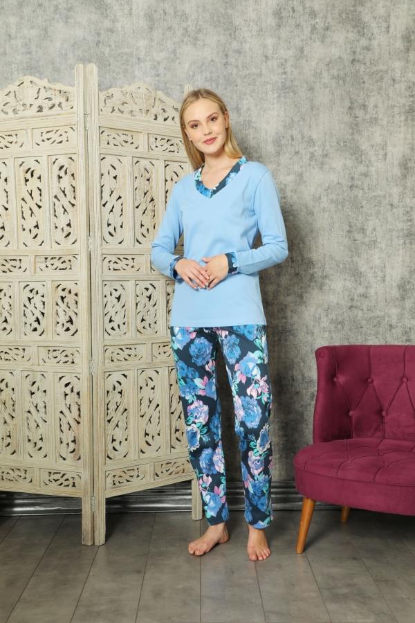 840-174 Mavi Güllü V Yaka Pijama Takımı