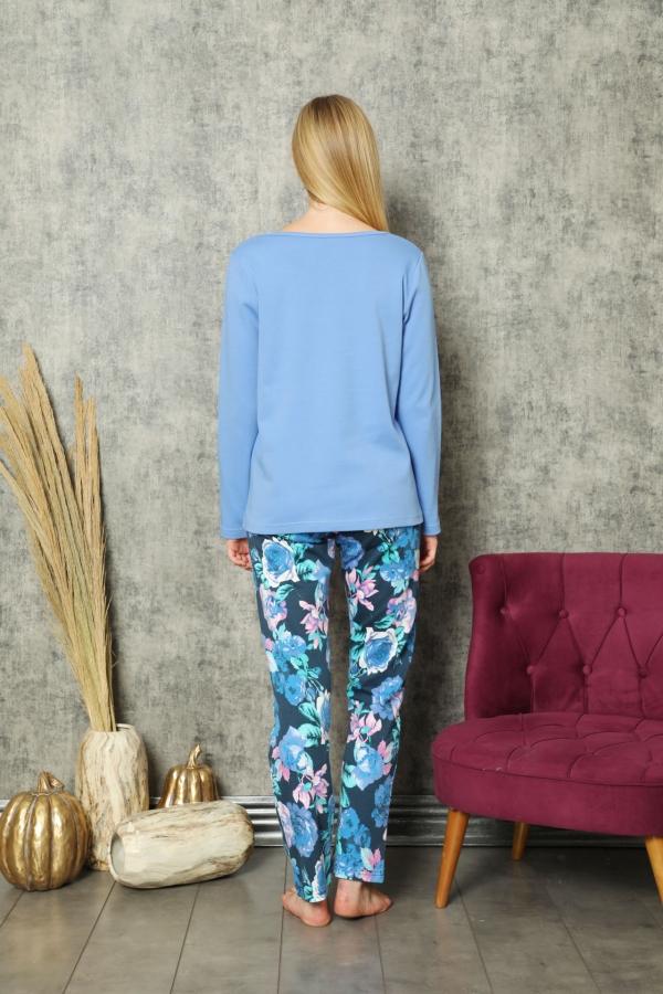 840-175 Yayık Yaka Önü Baslı Mavi Gül Desenli Pijama Takımı