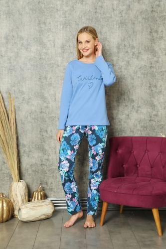 840-175 Yayık Yaka Önü Baslı Mavi Gül Desenli Pijama Takımı - Thumbnail