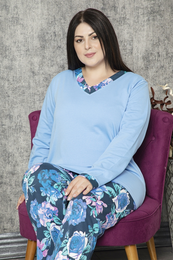 840-176 Battal V Yaka Mavi Gül Desenli Pijama Takımı