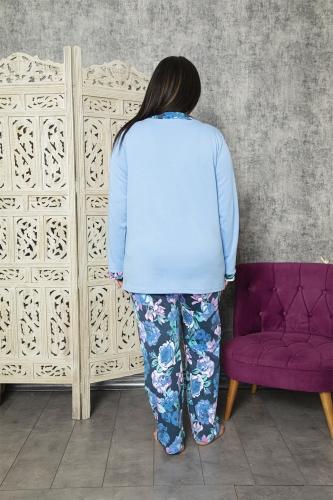 840-176 Battal V Yaka Mavi Gül Desenli Pijama Takımı - Thumbnail