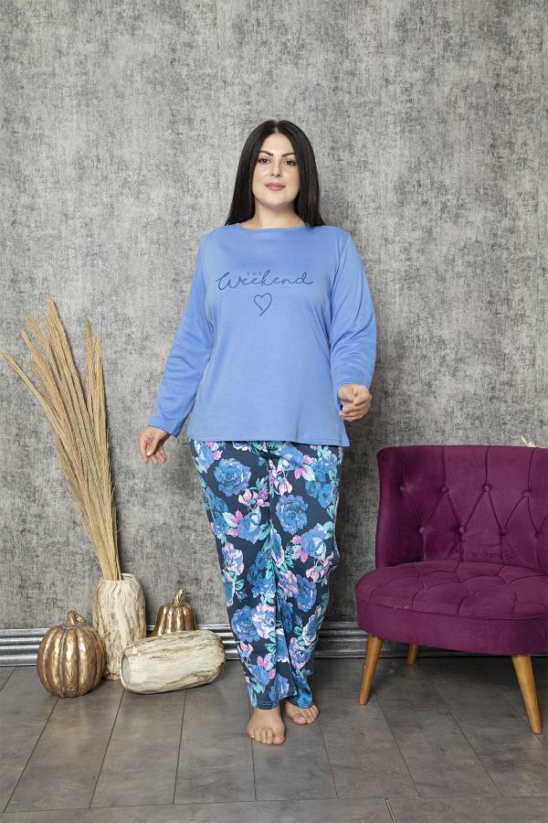 840-178 Battal Kayık Yaka Önü Bakılı Mavi Gül Desenli Pijama Takımı