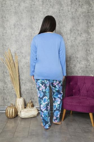 840-178 Battal Kayık Yaka Önü Bakılı Mavi Gül Desenli Pijama Takımı - Thumbnail