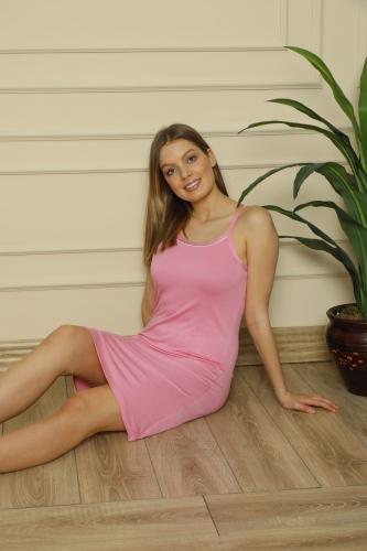 CNF840-016 Kadın İnce Askılı Renkli Viskon Gecelik - Thumbnail