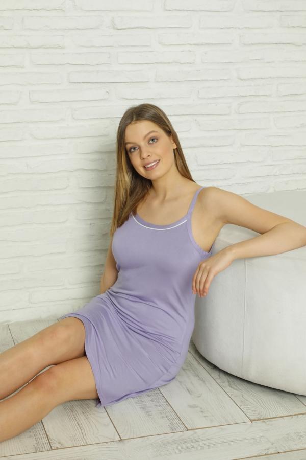 CNF840-016 Kadın İnce Askılı Renkli Viskon Gecelik