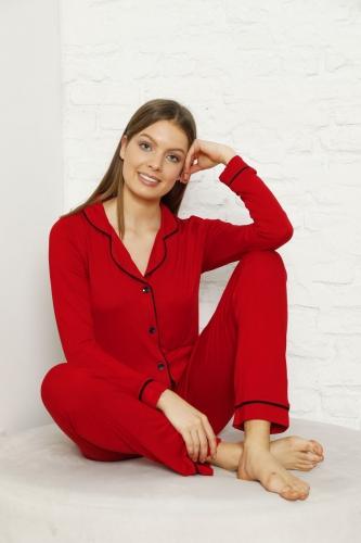 CNF840-058 Uzun Kol Renkli Viskon Pijama Takımı - Thumbnail