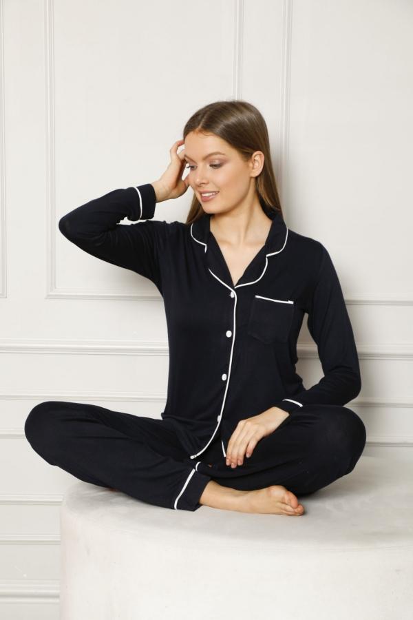 CNF840-058 Uzun Kol Renkli Viskon Pijama Takımı